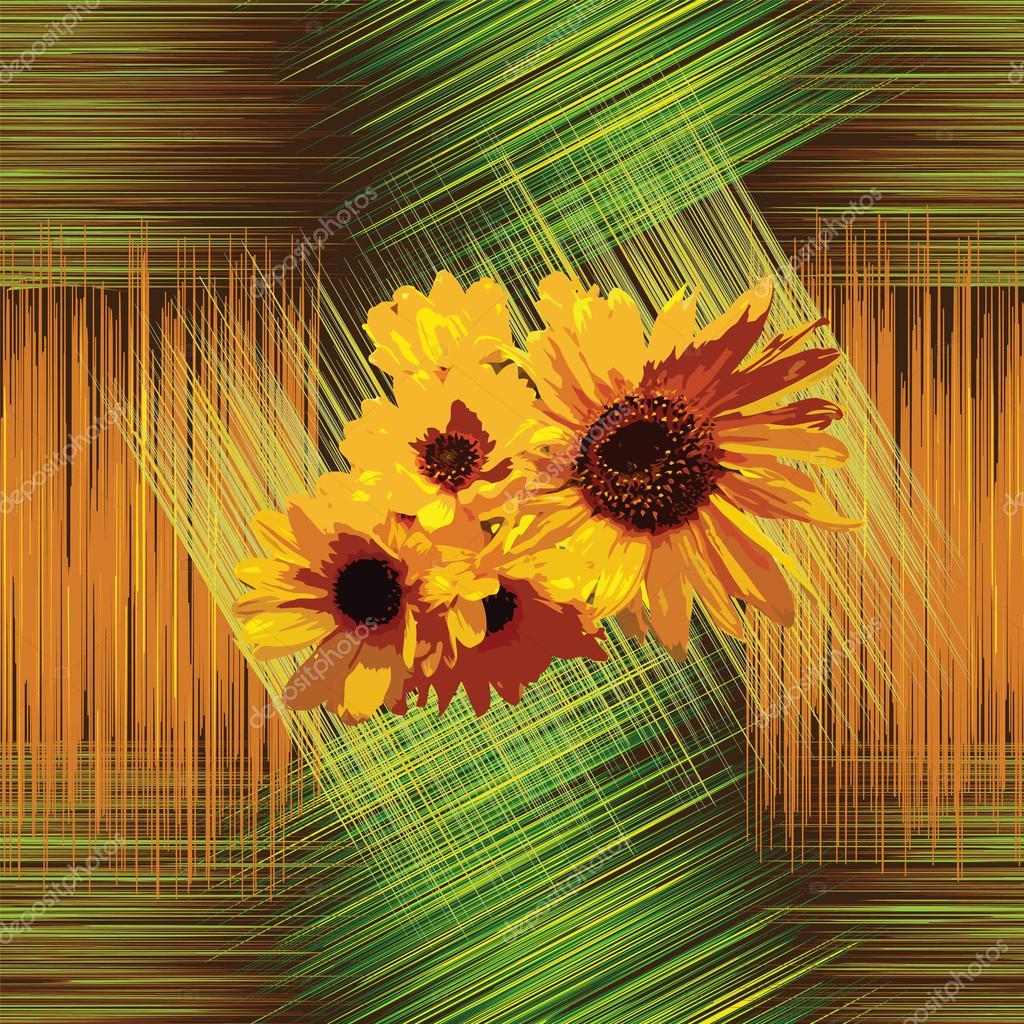 Nahtlose Muster mit Sonnenblumen gestreift Grunge hintergrund in den ...