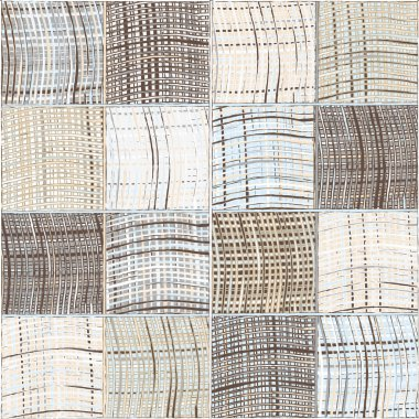 Seamless quilted pattern with grunge striped and checkered square elements