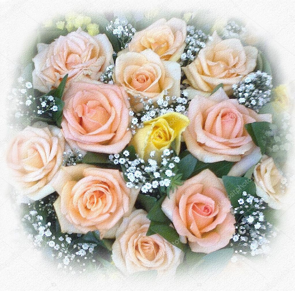 Greeting Card With Bouquet Of Pink And Yellow Roses And Small White