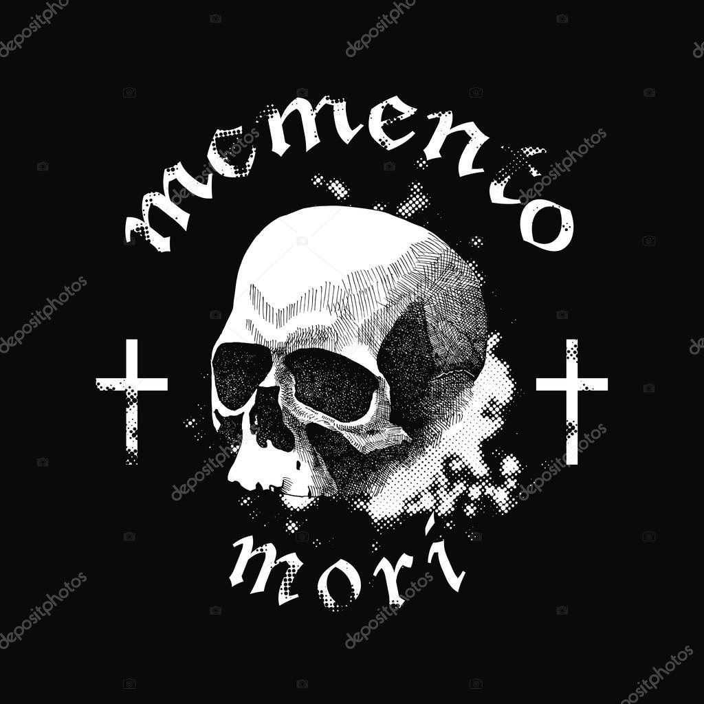 Cranio Di Vettore Bianco Su Sfondo Nero Nello Stile Di Disegno Del