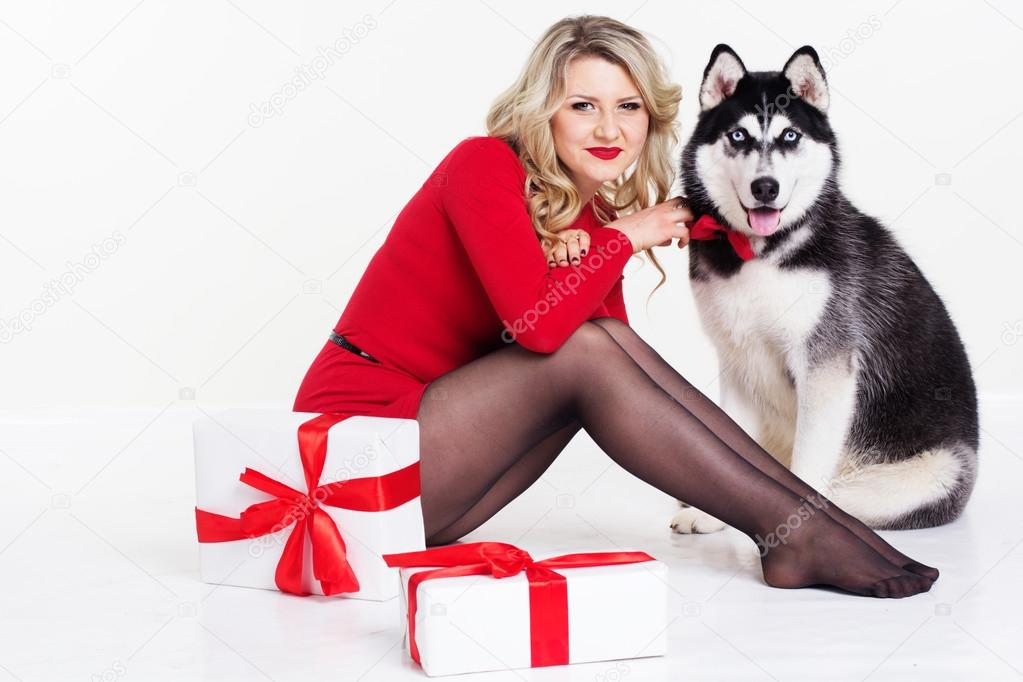 Charming Dog Gifts For Her Part - 9: Girl Wearing Dress With Gifts And Her Husky Dog U2014 Stock Photo #62099623