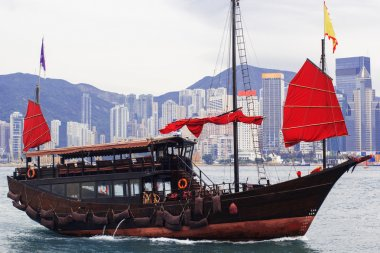 Hong Kong harbour with tourist junk, Scarlet Sails