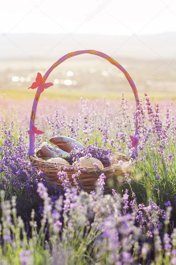 Basket with sweet-stuff in purple lavender flowers