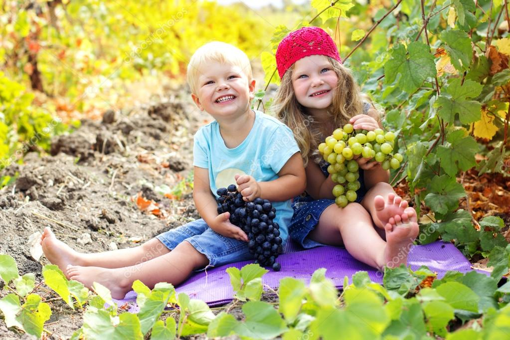 Childrens are holding buhch of grapes outdoor