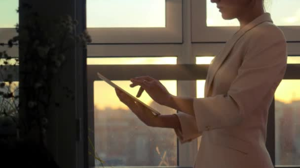 Woman Using Tablet With Sunbeams And Lens Flare Business Girl Young Adult  Against Sunset Sky Window
