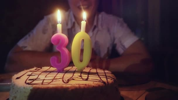 Man with birthday cake blows candles at his 30th birthday in man with birthday cake blows candles at his 30th birthday in slowmotion 1920x1080 stock sciox Image collections