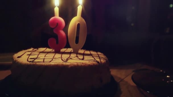 Man With Birthday Cake Blows Candles At His 30th In Slowmotion 1920x1080 Stock Footage