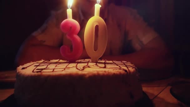 Pleasing Man With Birthday Cake Blows Candles At His 30Th Birthday In Personalised Birthday Cards Veneteletsinfo