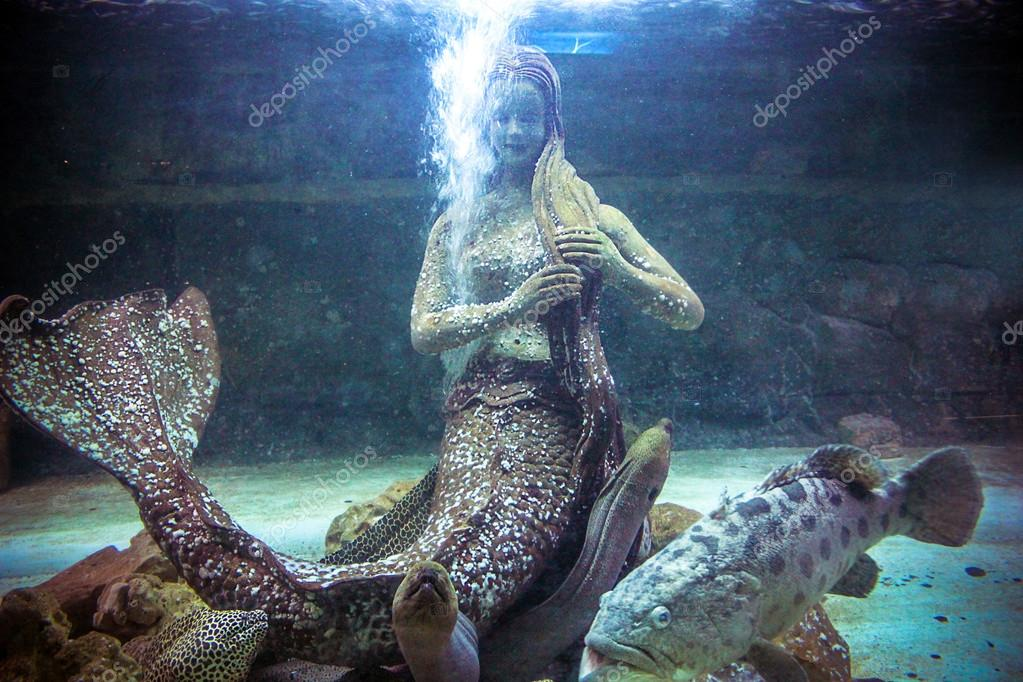 Thai Creatures statue from legend of Mysterious forest underwater in aquarium