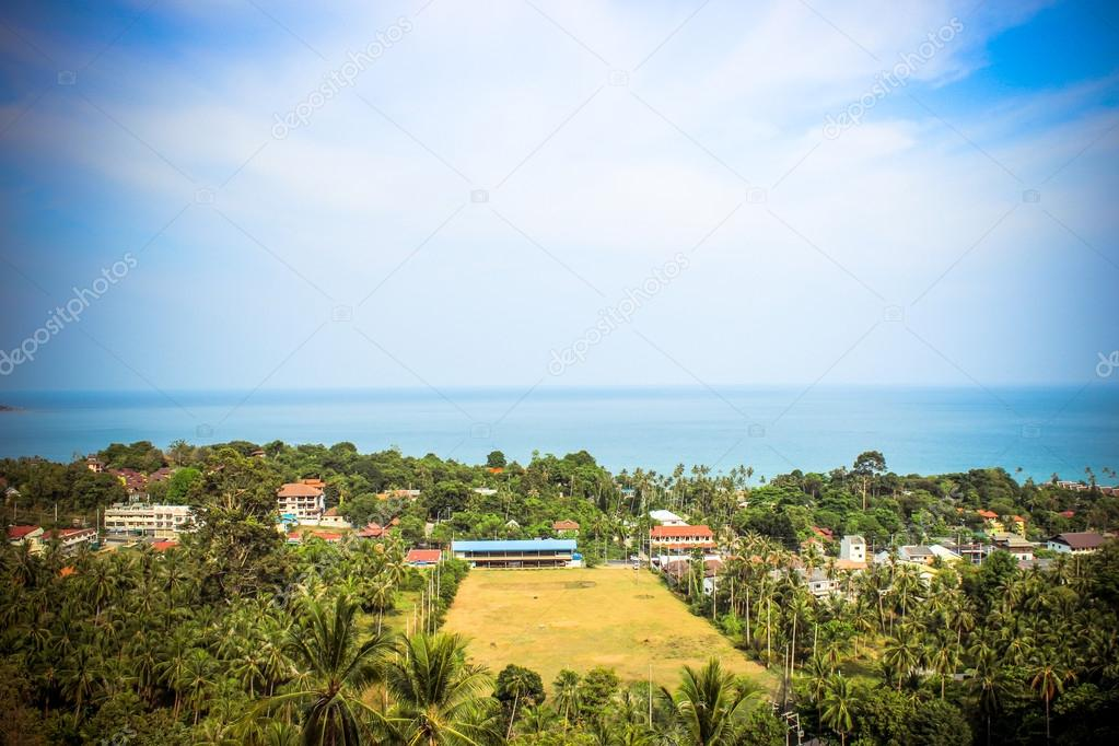 Travel vacation background. Tropical island with resorts Koh Samui, Thailand