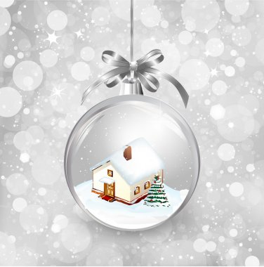Glass ball Christmas with a little house, snow, fir tree and silver bow. Vector