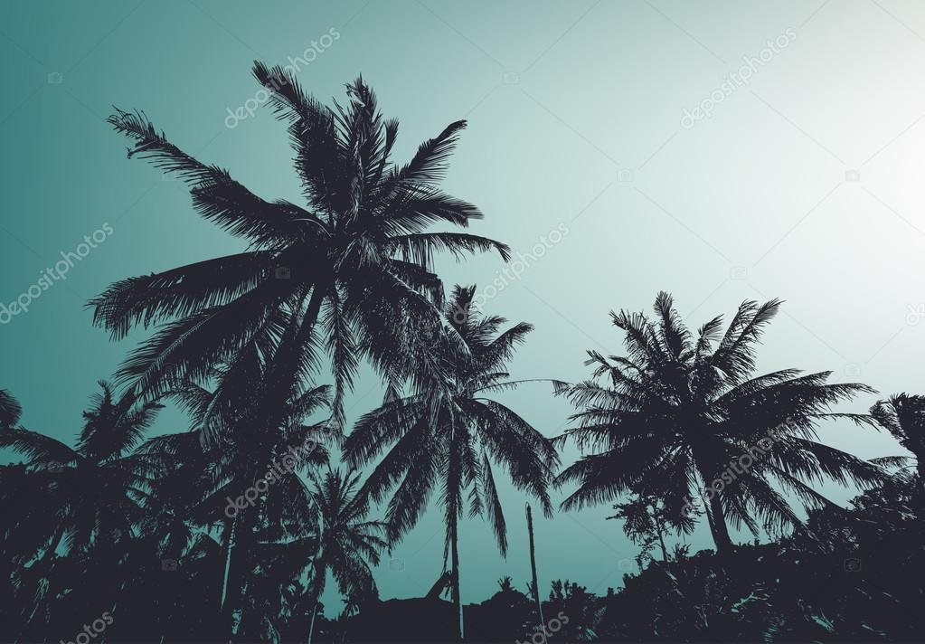 Vintage palm trees. Vector background