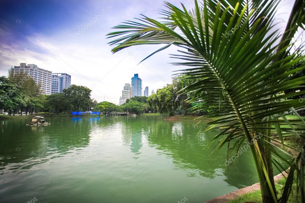 Bangkok city view with Garden