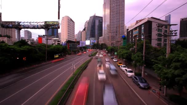 Traffic in Bangkok, Thailand. Advertising board near the road. Timelapse speed up. HD. 1920x1080