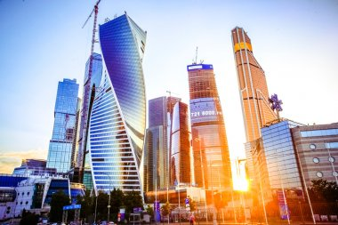 Beautiful evening view of famous skyscrapers in Moscow City international business center, Russia