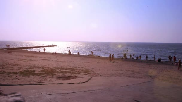 Russia. Primorsky Krai. 16 august 2014. Beach Pier with relaxing people. HD. 1920x1080