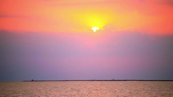 Timelapse, urychlit. Ptáci s západ slunce na pobřeží moře. HD. 1920 x 1080