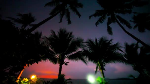 Evening mood in Koh Samui view on sky, lantern and palm. Rainy weather, lighting. Video