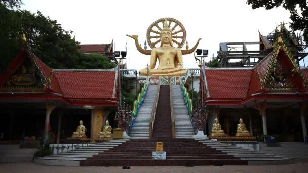 Big Buddha statue in Wat Phra Yai Temple, Koh Samui island, Thailand. HD. 1920x1080
