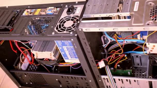 CPU Unit Server Room Data Center. Open the computer case. Video shift motion
