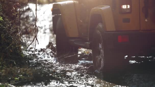 SUV dostal uvízl v bahně a snaží se chodit v podzimním lese