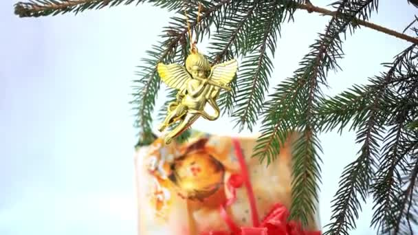 Christmas decoration with gold little angels on branch of spruce and gift