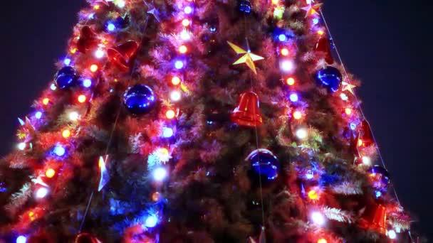 Vánoční stromky a ozdoby na noc pozadí.