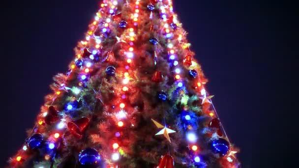 Karácsonyfa és dekorációk, éjszakai háttér.