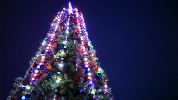 Christmas tree and decorations on night background.