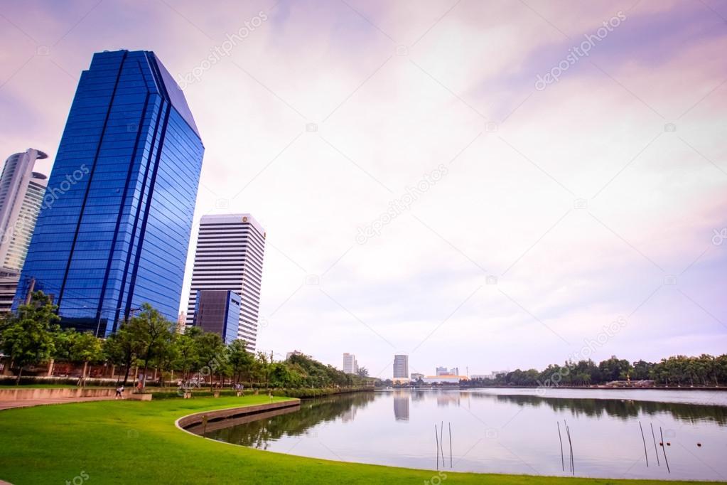Bangkok city view. Public Garden. Landscape Thailand