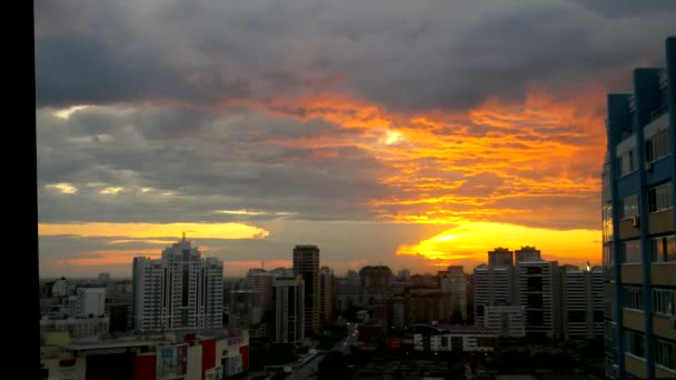 Timelapse of City during warm amazing sunset and beautiful sky in Novosibirsk