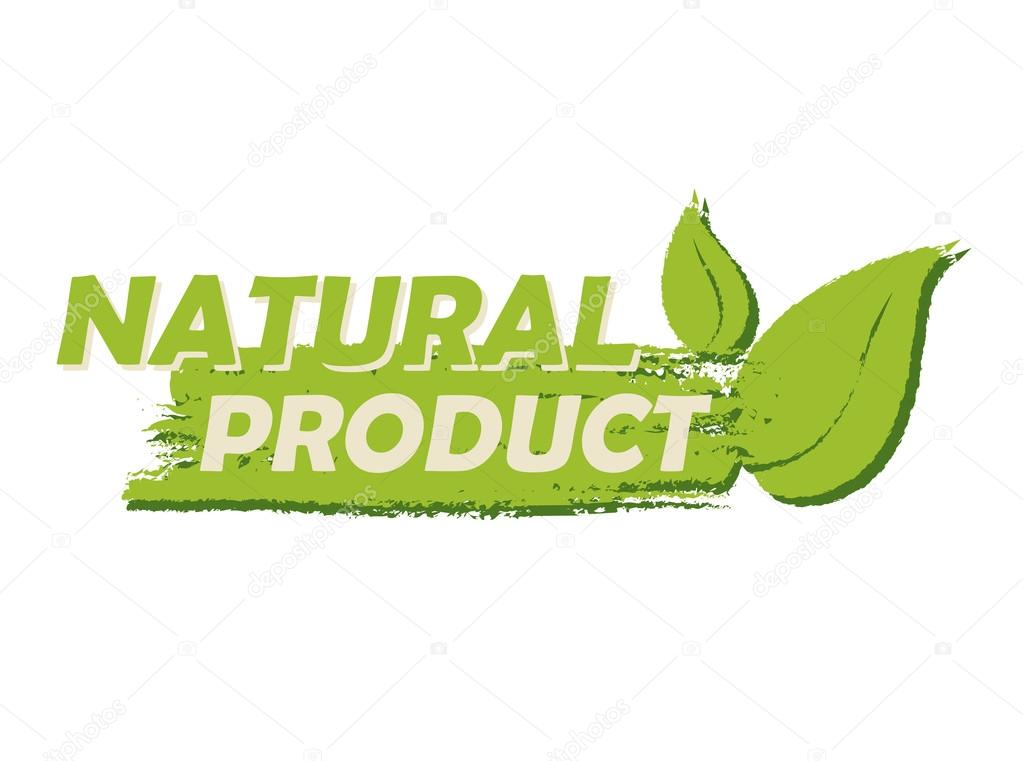 natural product with leaf sign green drawn label stock photo