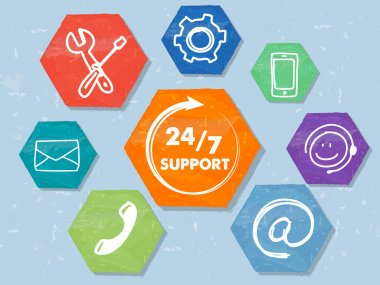 24 7 support with network signs, grunge drawn hexagons labels