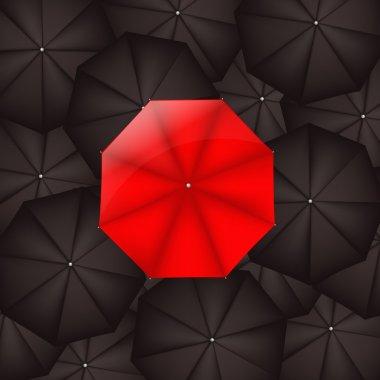 Red Umbrella Against Black Umbrellas
