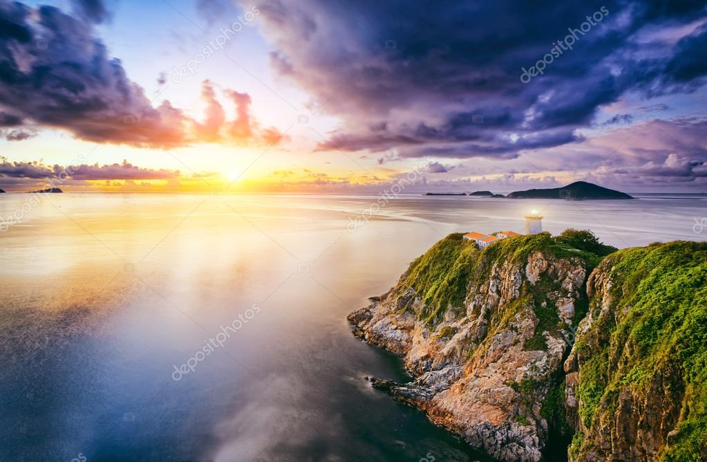 Hong Kong lighthouse during sunrise