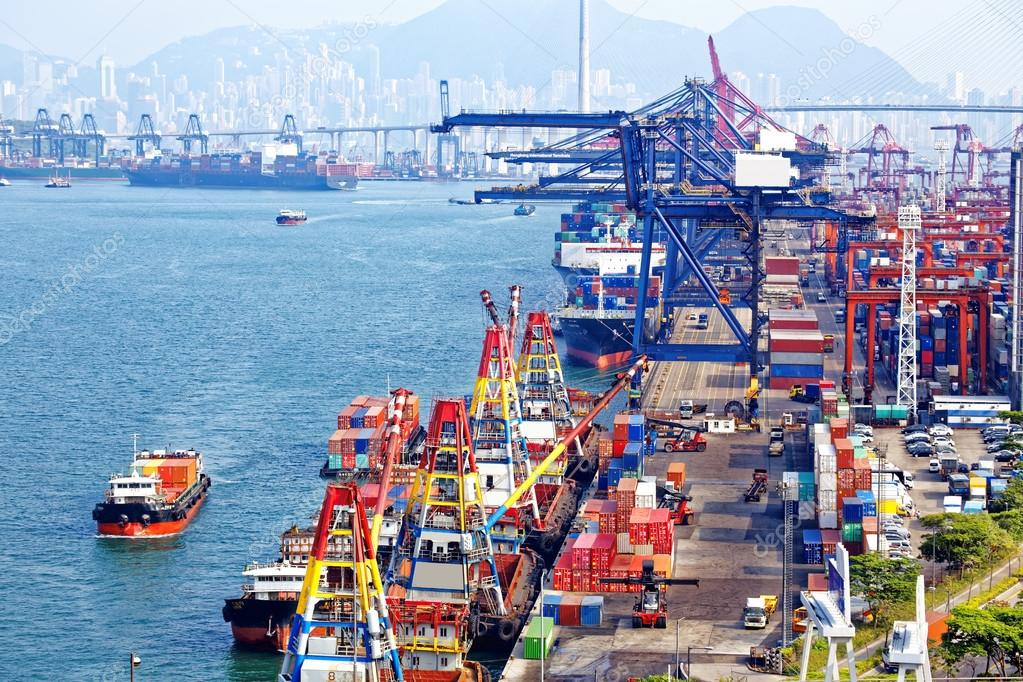 Containers At Hong Kong Commercial Port Stock Photo C Cozyta 72153583