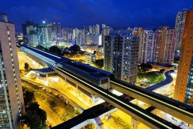 Hong Kong urban downtown at night