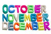 Words from plasticine (october, november, december)
