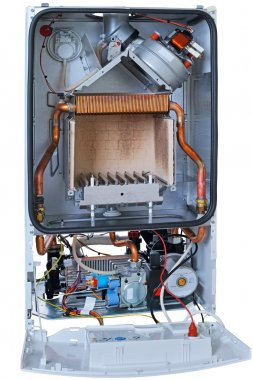 New gas boiler without front cover
