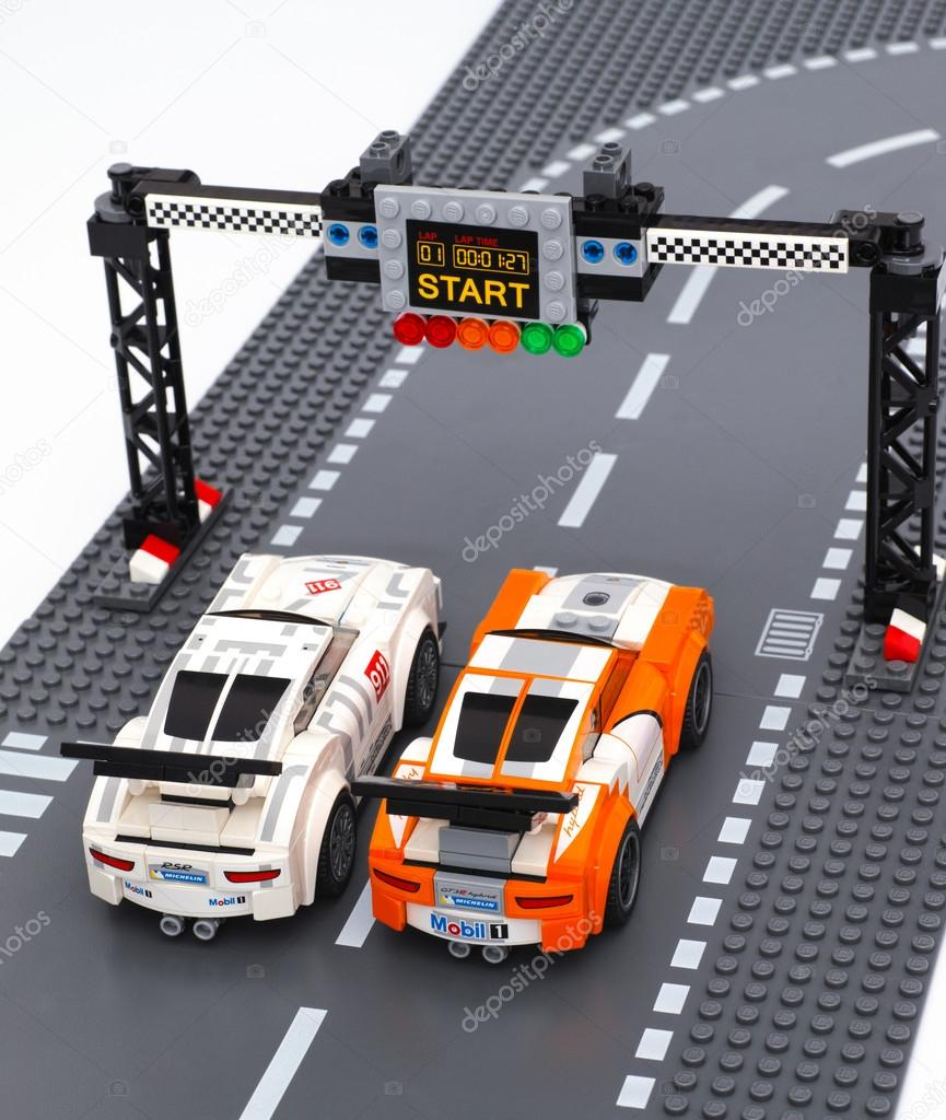 Two Lego Porsche 911 Gt Race Cars On Start Line Stock Editorial