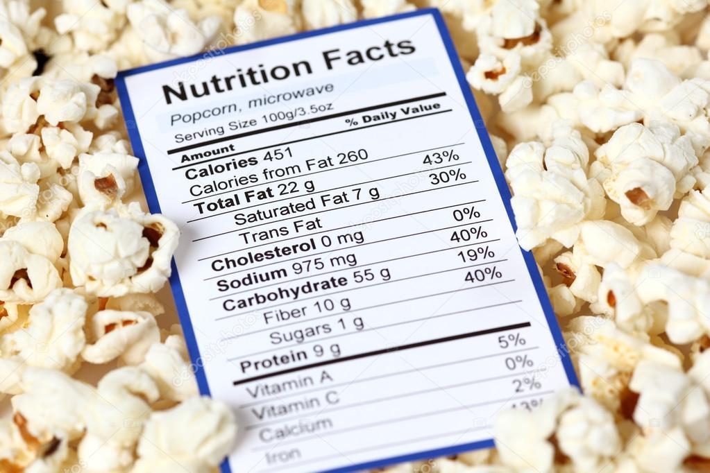 tabla nutricional de las palomitas de maiz
