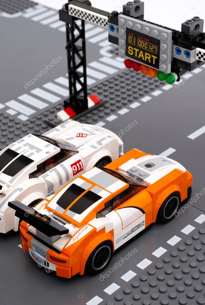 Lego Porsche 911 Gt Race Cars On Start Finish Line Stock