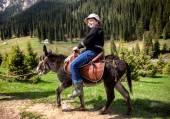 Fotografie Junge reitet einen Esel