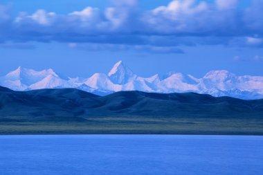 Tuzkol lake and Khan Tengri Peak