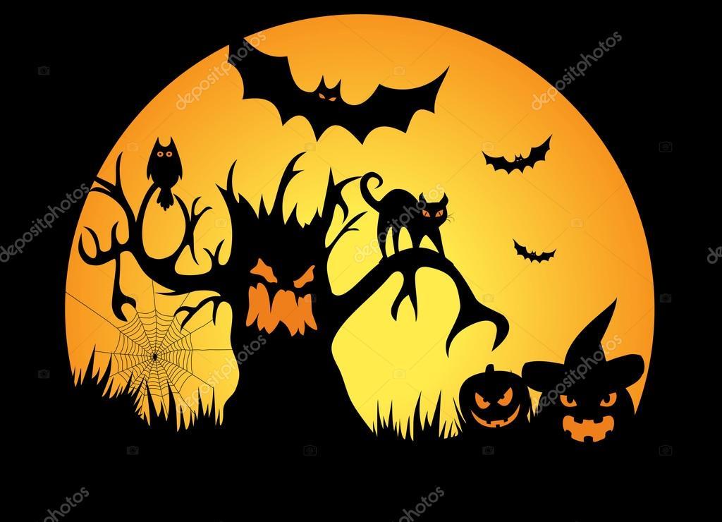 full moon halloween night illustration stock photo  u00a9 sanadesign 55898463 Halloween Background Vector Halloween Silhouette