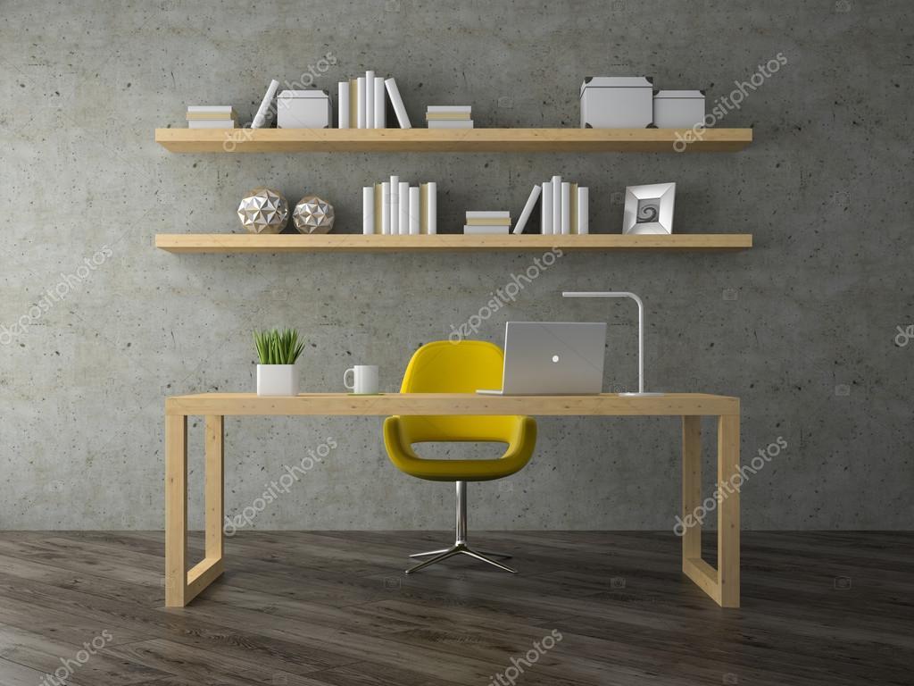 Intérieur de bureau moderne chambre avec fauteuil jaune rendu 3d