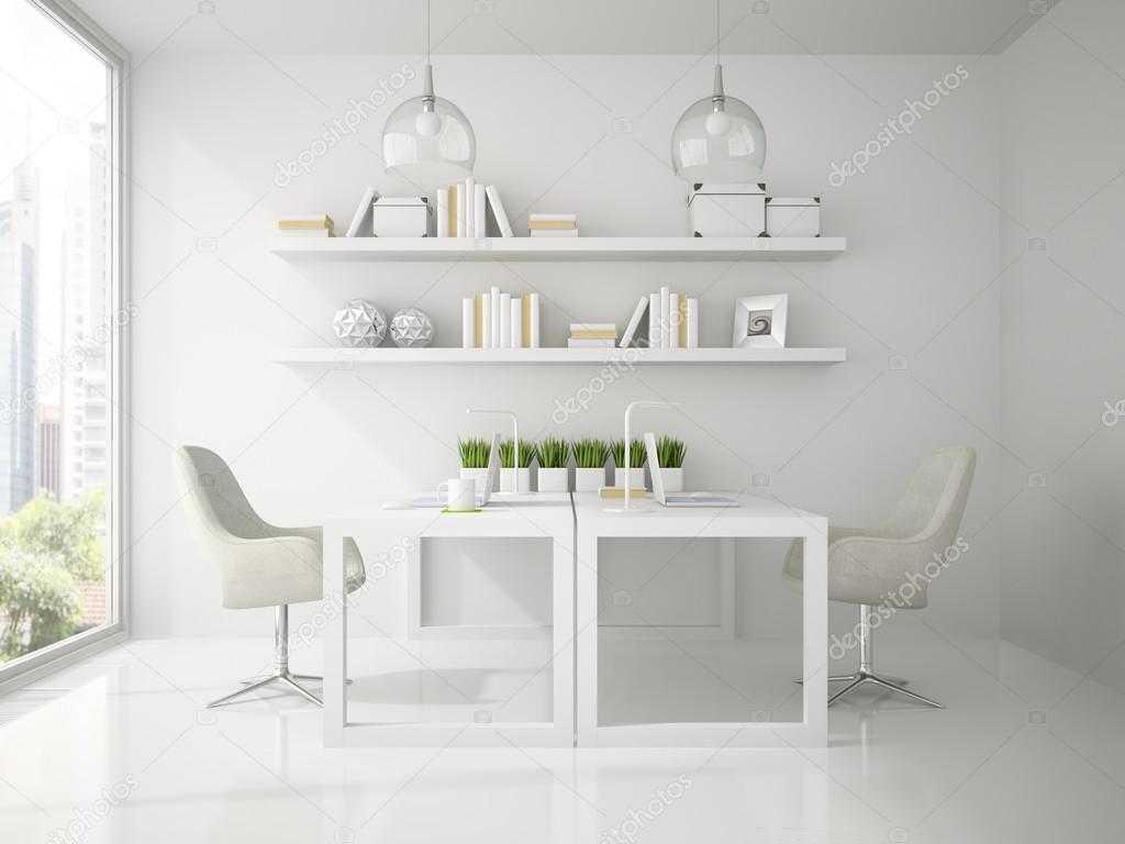 Interieur van modern ontwerpbureau witte kleur 3D-rendering ...