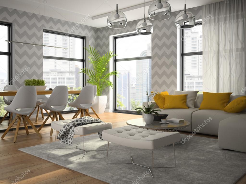 Interior Design Moderno Quarto Com Papel De Parede Cinza Renderização Em 3d  U2014 Fotografia De Stock