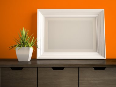 Part of interior with white frame and orange wall 3D rendering