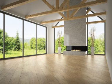 Interior empty room with rafters and fireplace 3D rendering 2